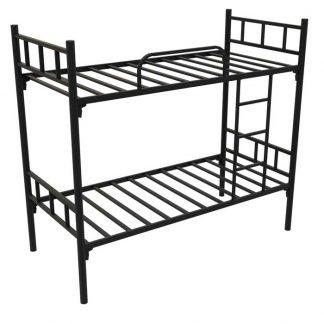 КОРИЧНЕВАЯ двухъярусная металлическая кровать с лестницей АРСЕНАЛ
