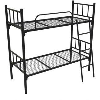 Кровать металлическая двухъярусная с лестницей и ограждением чёрная КМ-2.51 COOL в ПермиCOOL в Перми