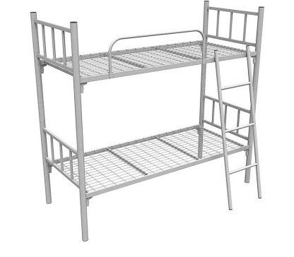 Кровать металлическая двухъярусная с лестницей и ограждением белая КМ-2.51 COOL в Перми