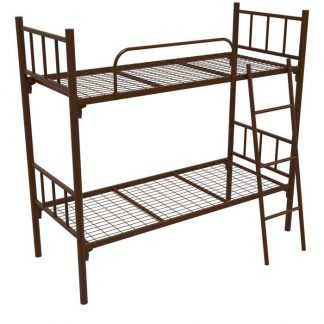Железная двухъярусная кровать с лестницей коричневая КМ-2.51 Пермь