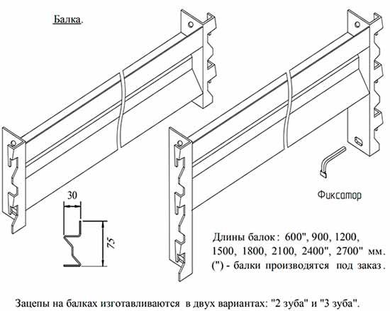 Балка стеллажа СШ - 1800 на зацепах с фиксатором