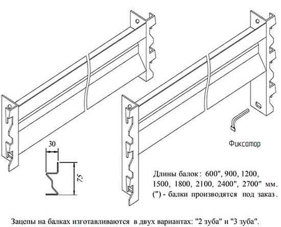 Балки стеллажей оцинкованные - окрашенные с зацепами и фиксаторами.