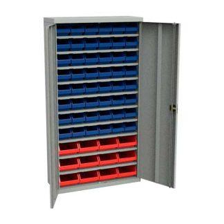 Стеллаж с дверцами и пластмассовыми ящичками для метизов ЗС-Д-5003.12.5002.48
