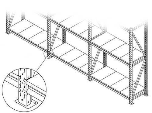 Все стеллажи СГР предусматривают соединение в сплошной ряд