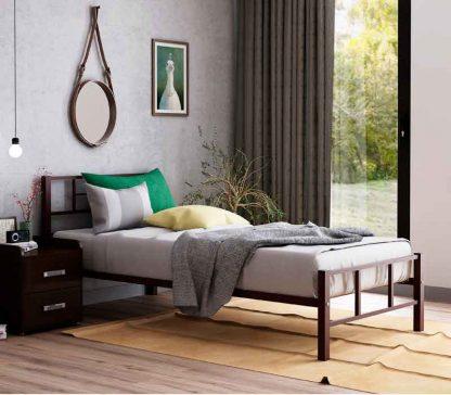 Хостел кроватьметаллическая КАДИС, коричневая, железная, одноярусная
