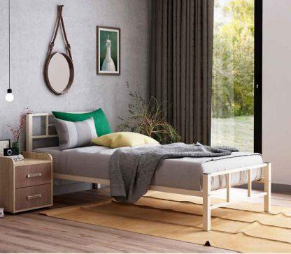 """Кровать в спальню """"КАДИС"""", бежевая, металлическая"""