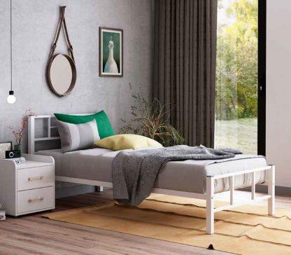 Односпальная кровать металлическая Кадис, белая в Перми