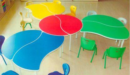 Детский стол Капля в сочетании со столом Волна